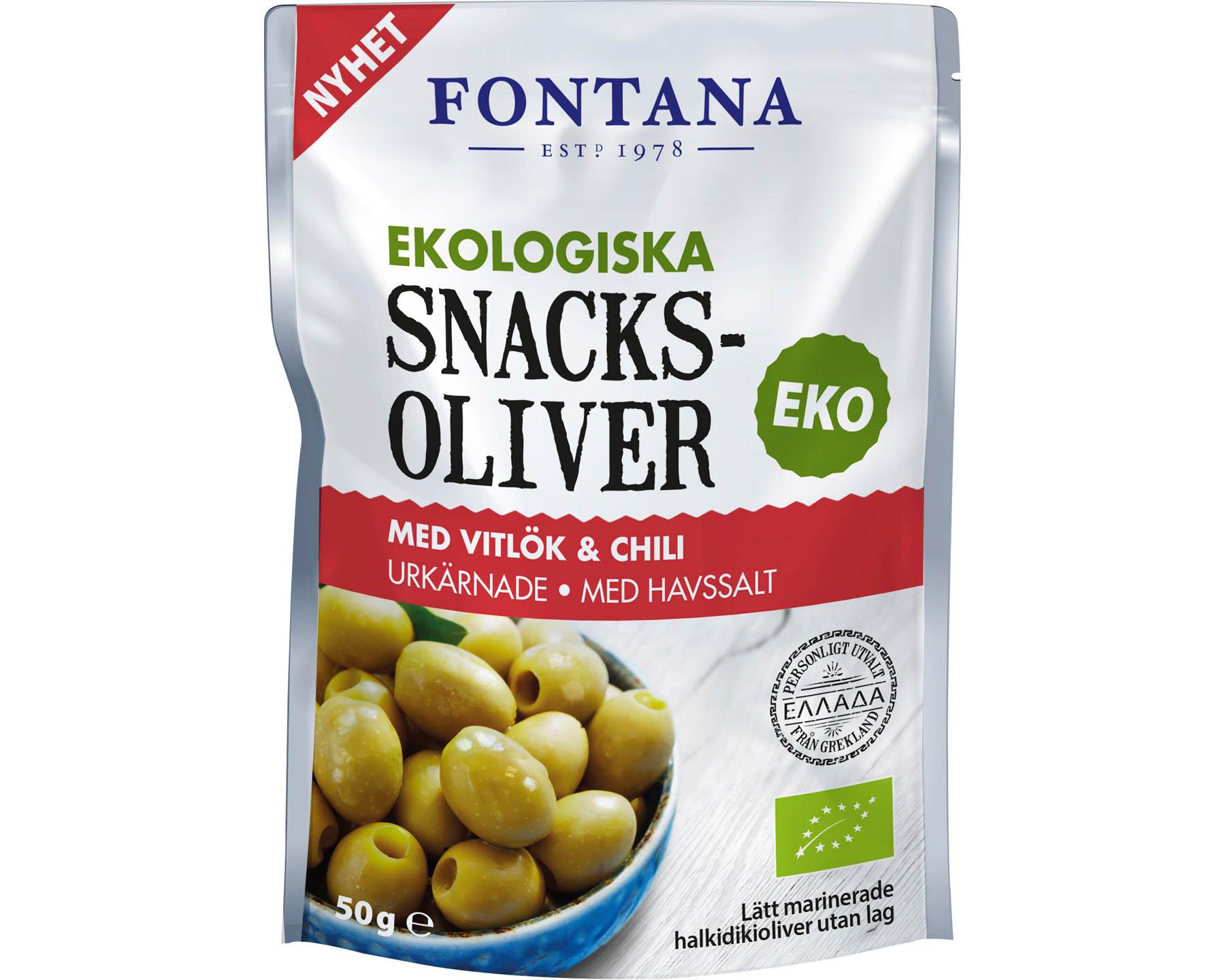 Fontana Snacksoliver - Gröna oliver med vitlök & chili
