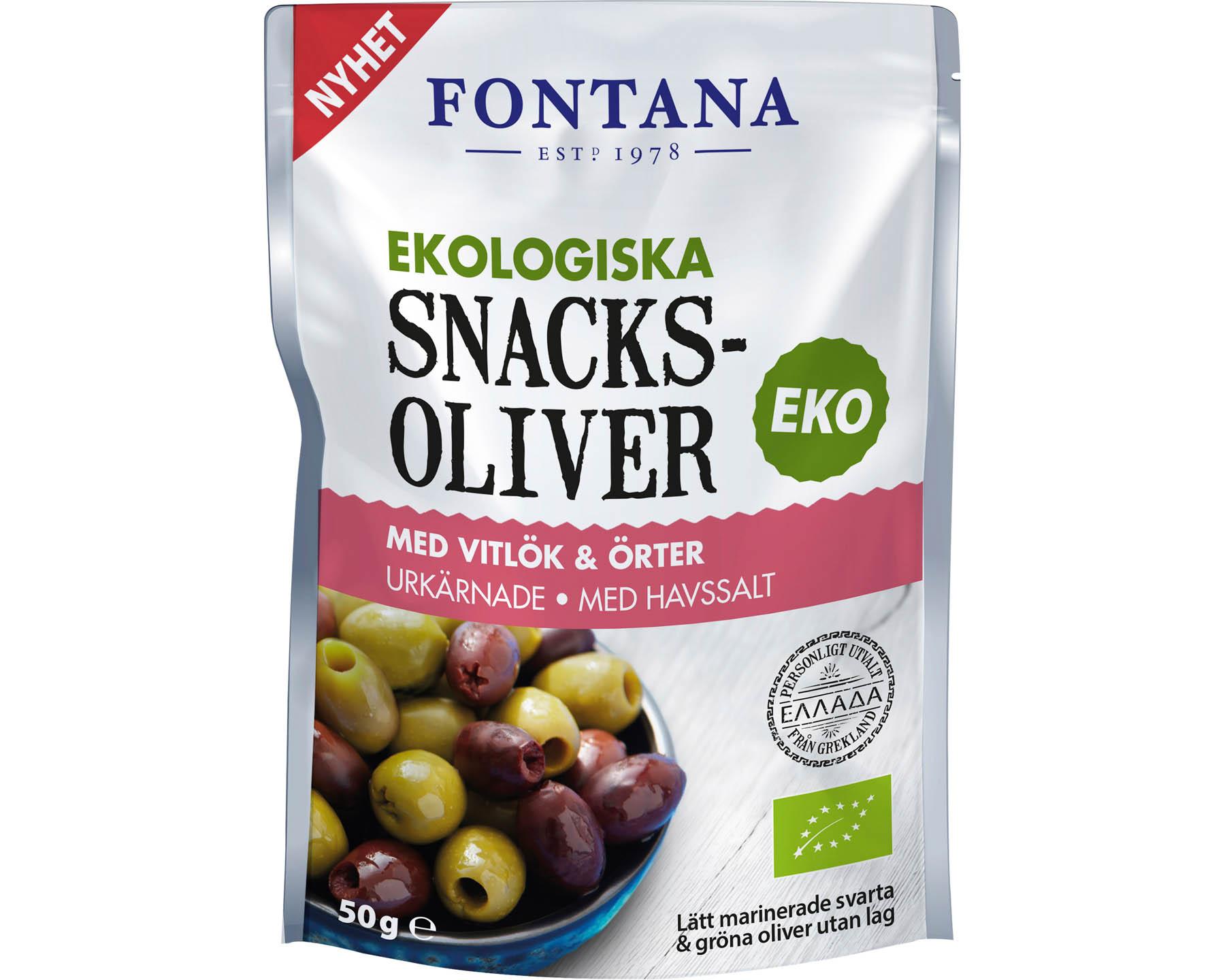 Fontana Snacksoliver - Olivmix med vitlök & örter