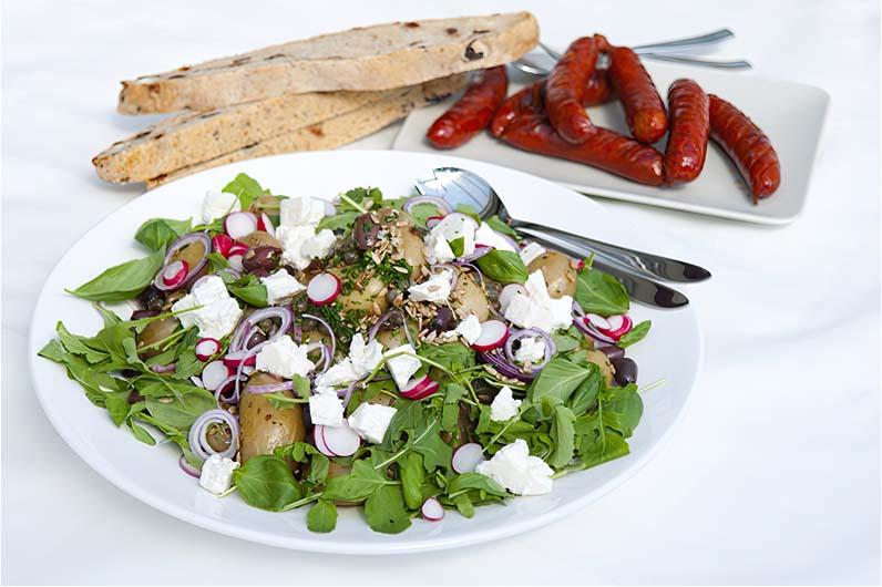 Grekisk Potatissallad Med Grillad Chorizo Recept