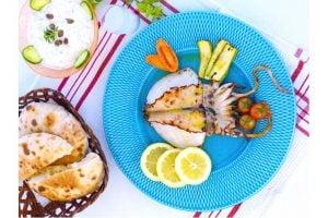 Grillad Bläckfisk Med Citronsås Recept
