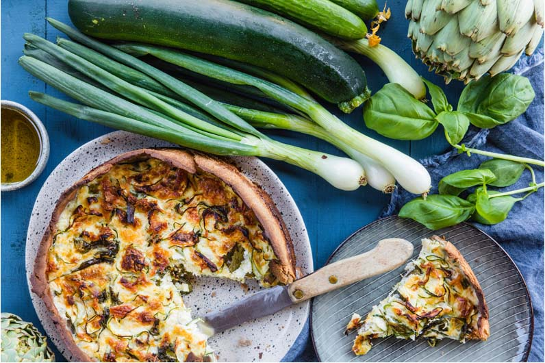 Zucchini Och Lökpaj Med Halloumi Recept