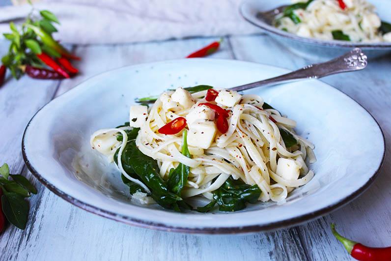 Pasta med spenat och Tärnad Grilloumi Recept