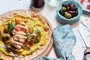 Flatbread med Grilloumi och blomkål recept