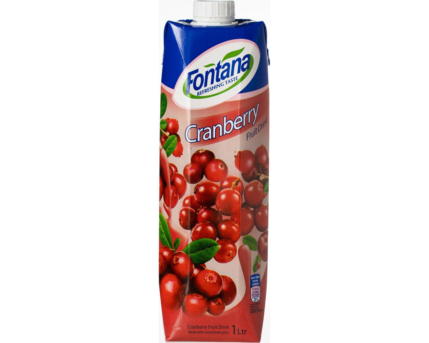 Tranbärsjuice Fruktdryck Fontana 1 l