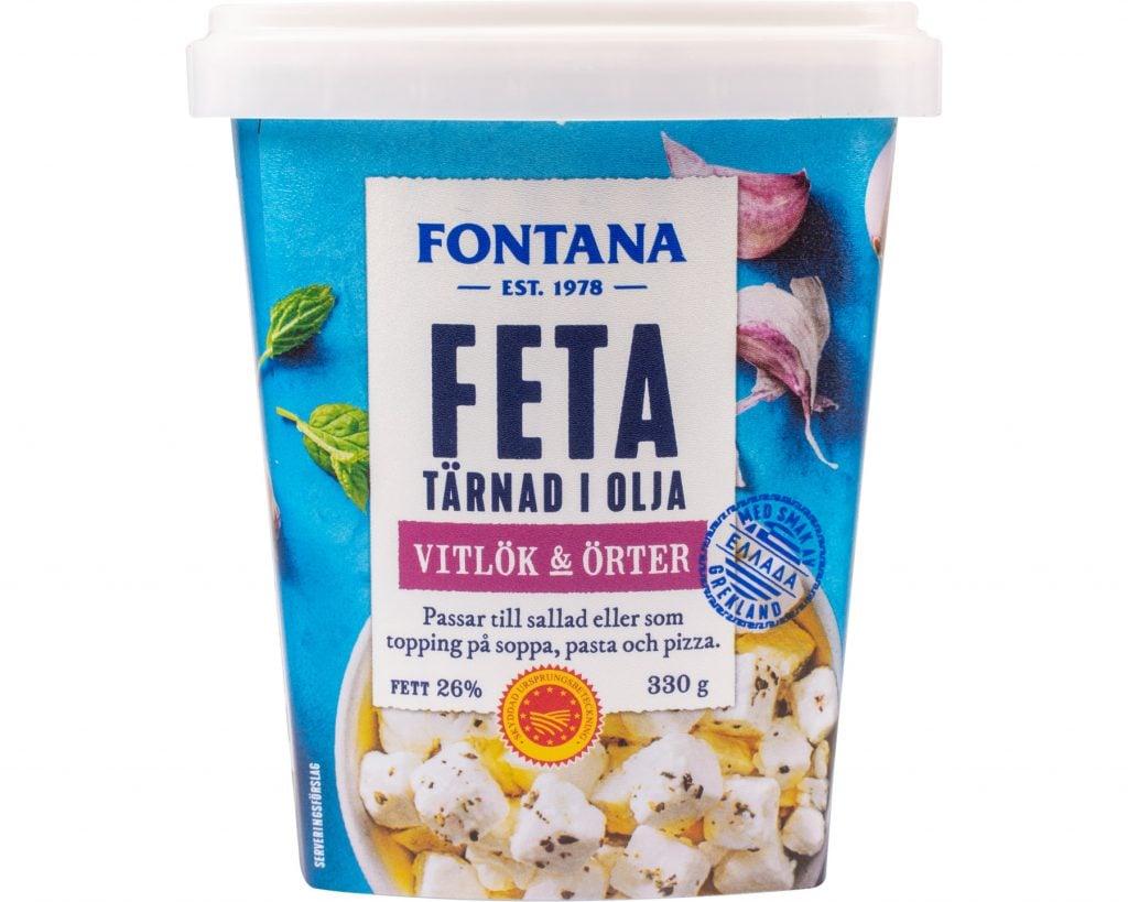 Fontana Feta Tärnad i Olja Vitlök & Örter 330 g