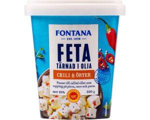 Fontana Feta Tärnad i Olja Chili & Örter 330 g