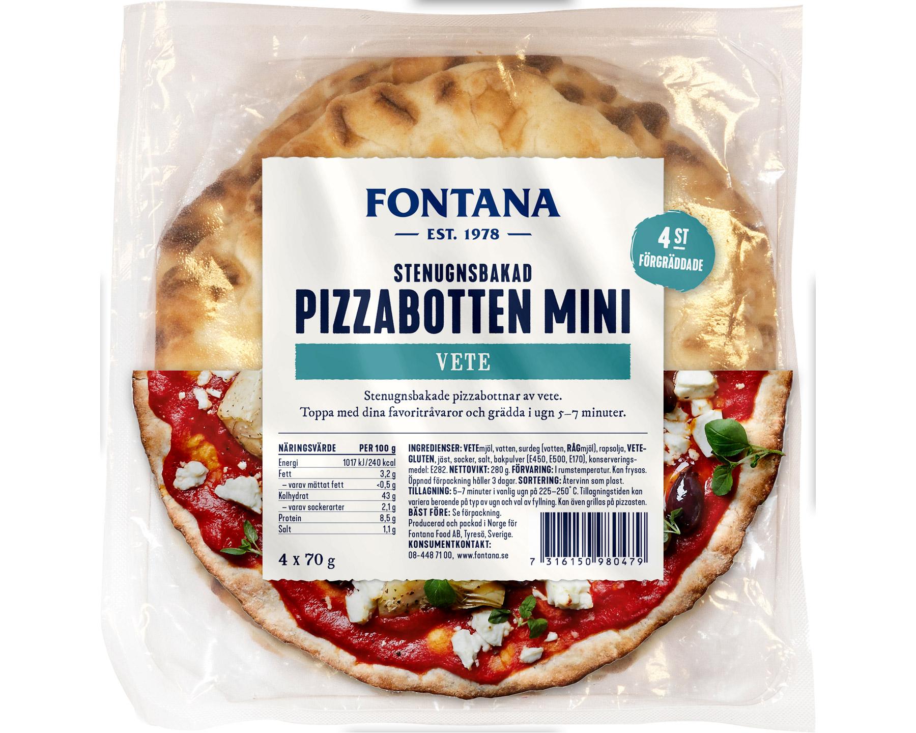 Fontana Stenugnsbakad Pizzabotten 4 x 70 g