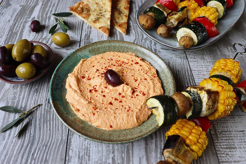 Grillade Grönsaksspett med Htipiti Recept