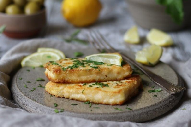 Stekt Grilloumi med citron och persilja recept